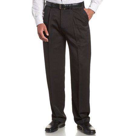 Perry Ellis Portfolio Classic Fit Double Pleat Micro-Melange Pant Caviar Double Pleated Trouser