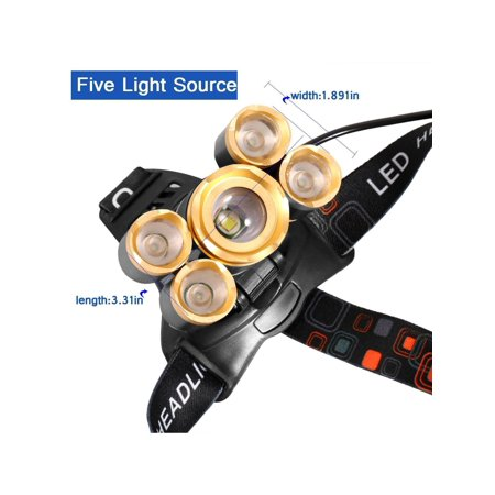 LED headlamp, Super Bright 5 LED 8000 Zoomable Waterproof Headlamps Flash-light for Cycling, Running, Dog Walking, Camping, Hiking, Fishing, Night Reading and DIY Works