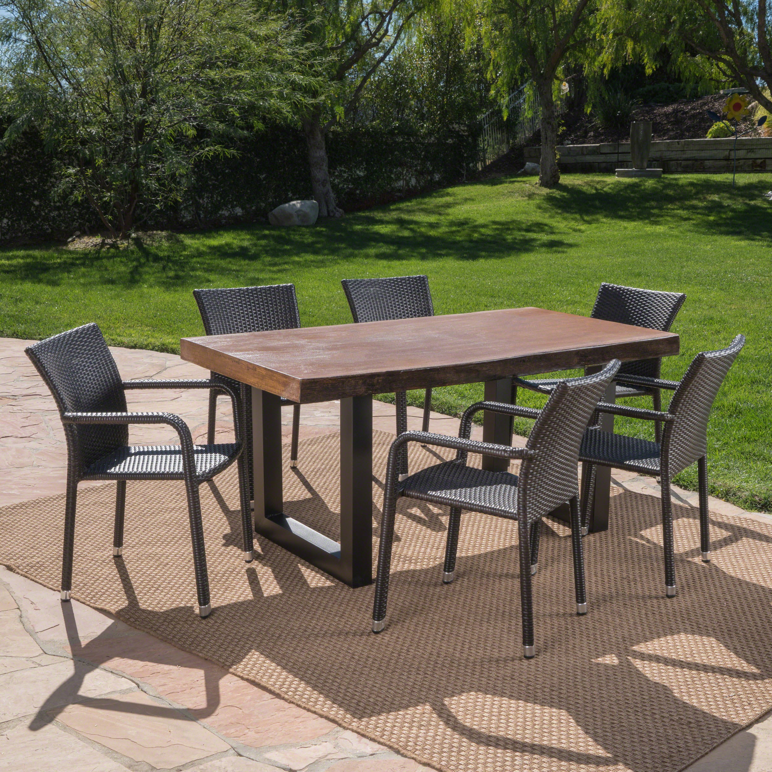Noble House Eddie Outdoor 6 Piece Wicker Dining Set With Walnut Finish  Light Weight Concrete Table
