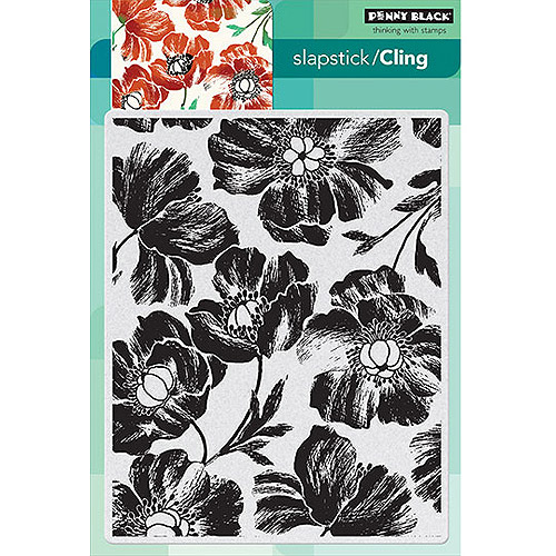 "Penny Black Cling Rubber Stamp, 5"" x 7.5"" Sheet, Poppy Pattern"