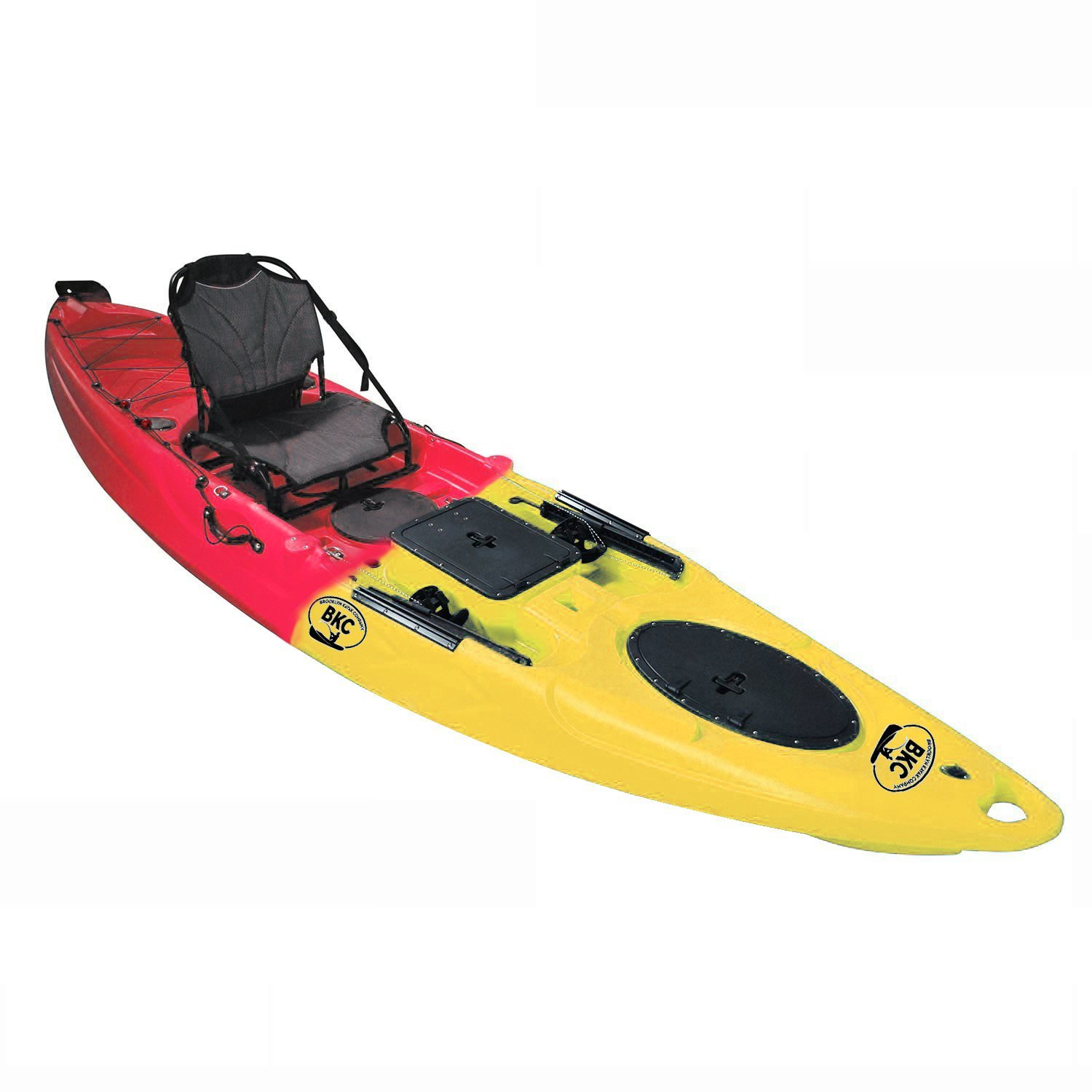 BKC UH-RA220 11.5 foot Angler Sit On Top Fishing Kayak with Paddles and Upright Chair and Rudder System Included by Brooklyn Kayak Company
