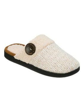 Dearfoams Women's Textured Knit Closed Toe Scuff Slippers
