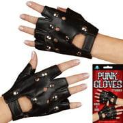 Star Power Black Punk 2pc Studded Gloves, Black Silver, One Size