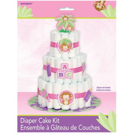Pink Monkey Baby Shower Diaper Cake Kit, 25pc - Dipper Cake