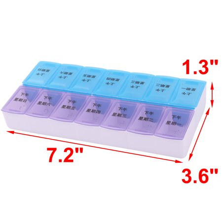 Family PP Chinese Letter Pattern Rectangle 14 Slots Pill Storage Case Box - image 1 de 4