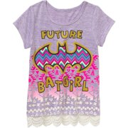 Girls' Future Batgirl Short Sleeve Scoop Neck Top with Crochet Hem
