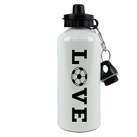 50 Ml Water - White Aluminum Black LOVE Soccer, 20-Ounce (600 ML) Sport Water Bottle with Sports Top, Carabiner