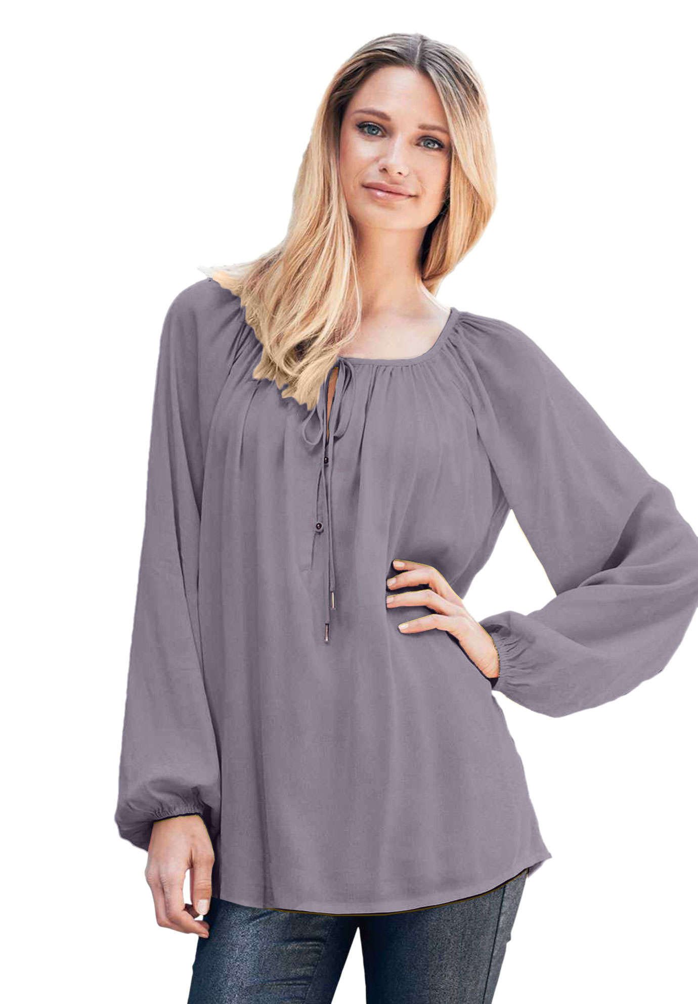 ellos Womens Plus Size Tie Neck Peasant Tunic