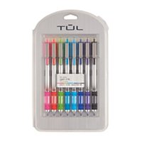 TUL Retractable Gel Pens, Needle Point, 0.7 mm, Gray Barrel, Assorted Bright Ink Colors, Pack Of 8