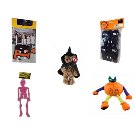 Halloween Fun Gift Bundle [5 Piece] - Trick or Treat Banner 42.5 x 5 Inches - Tombstone Containers Party Favors 6 Count - Ty Attic Treasures