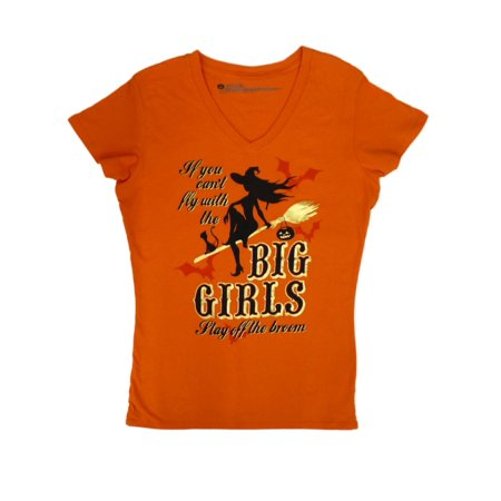 Happy Halloween Orange (Happy Halloween Womens Orange If You Cant Fly With The Big Girls T-Shirt Tee)