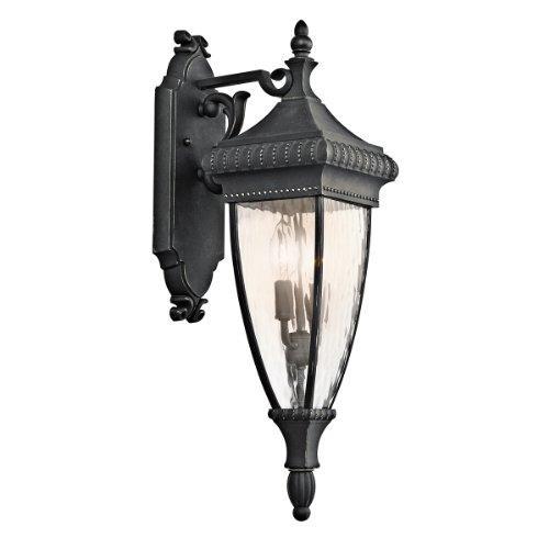 kichler lighting kichler 49131bkg venetian rain 2-light outdoor wall lantern, black with gold highlights and vertical rain glass