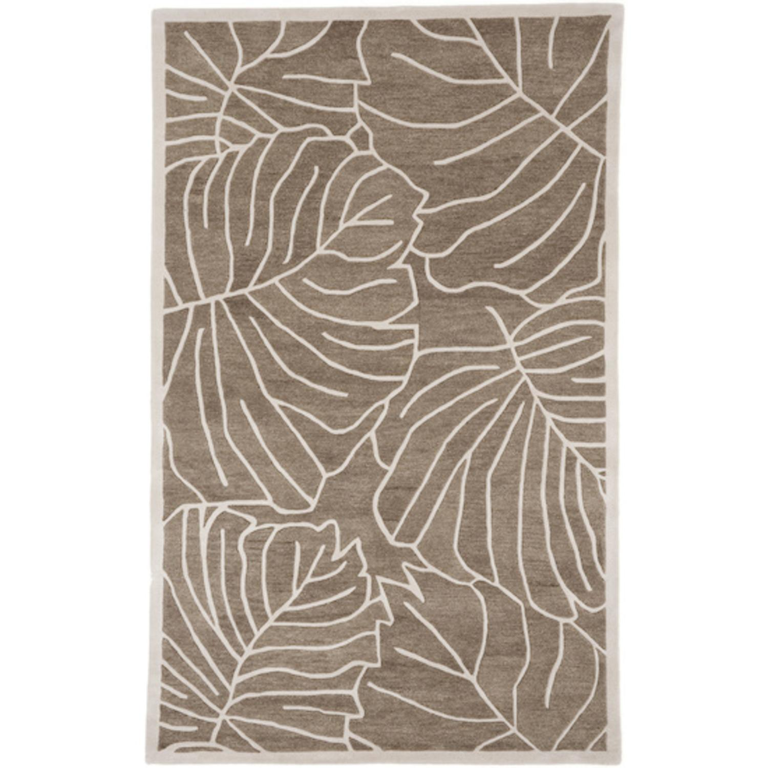 2' x 3' Leaf Me Alone Mushroom and Antique White Wool Area Throw Rug