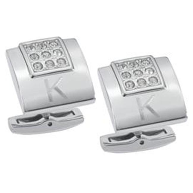 Visol VCUFF703 Grandeur Crystal Brushed Stainless Steel Cufflinks