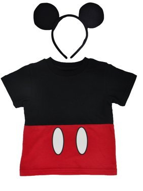 Disney Mickey Mouse Halloween Costume T-Shirt & Ears Headband 2Pc Set (Toddler)