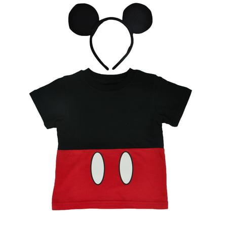 Mickey Mouse Family Halloween Costumes (Disney Mickey Mouse Halloween Costume T-Shirt & Ears Headband 2Pc Set)