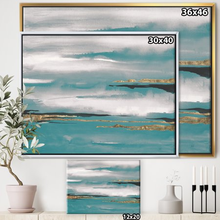Glam Teal Watercolor II - Modern & Contemporary Framed Canvas - image 2 of 3