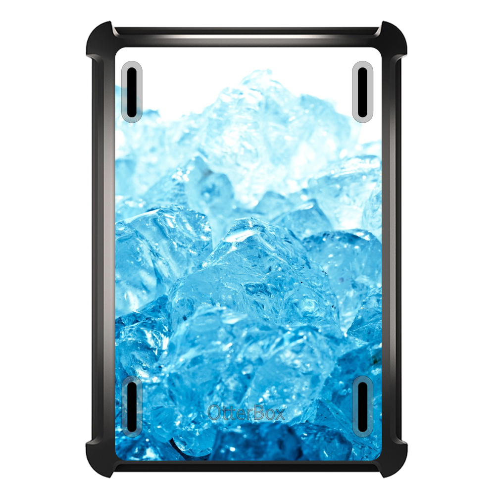 CUSTOM Black OtterBox Defender Series Case for Apple iPad Mini 1 / 2 / 3 - Clear Blue Ice