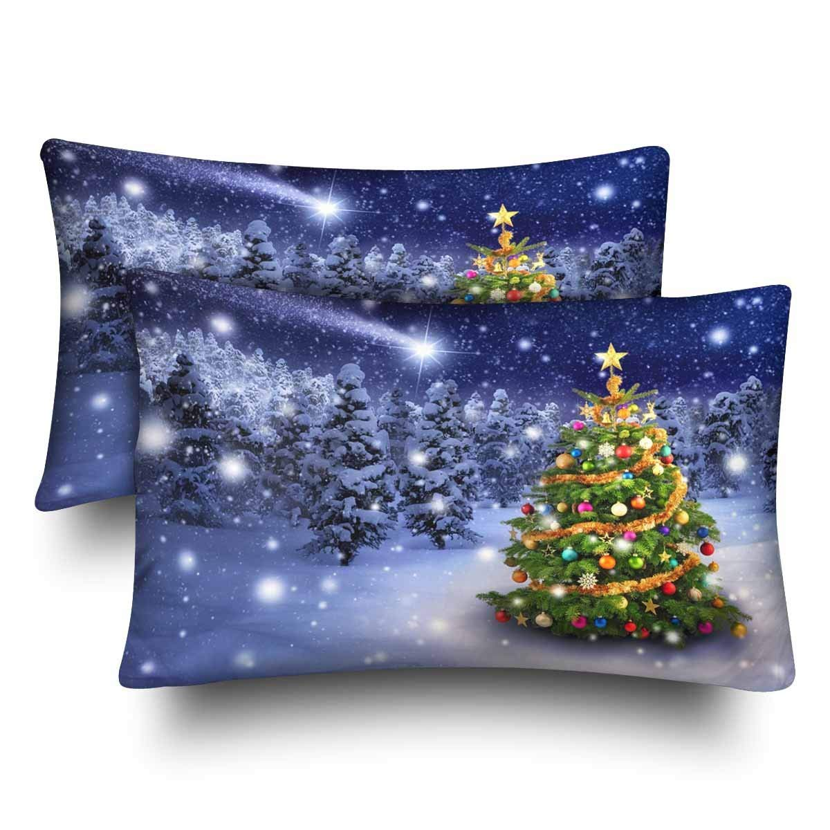 GCKG Christmas Tree Snowy Night Star Christmas Pillow Cases Pillowcase 20x30 inches Set of 2 - image 4 de 4