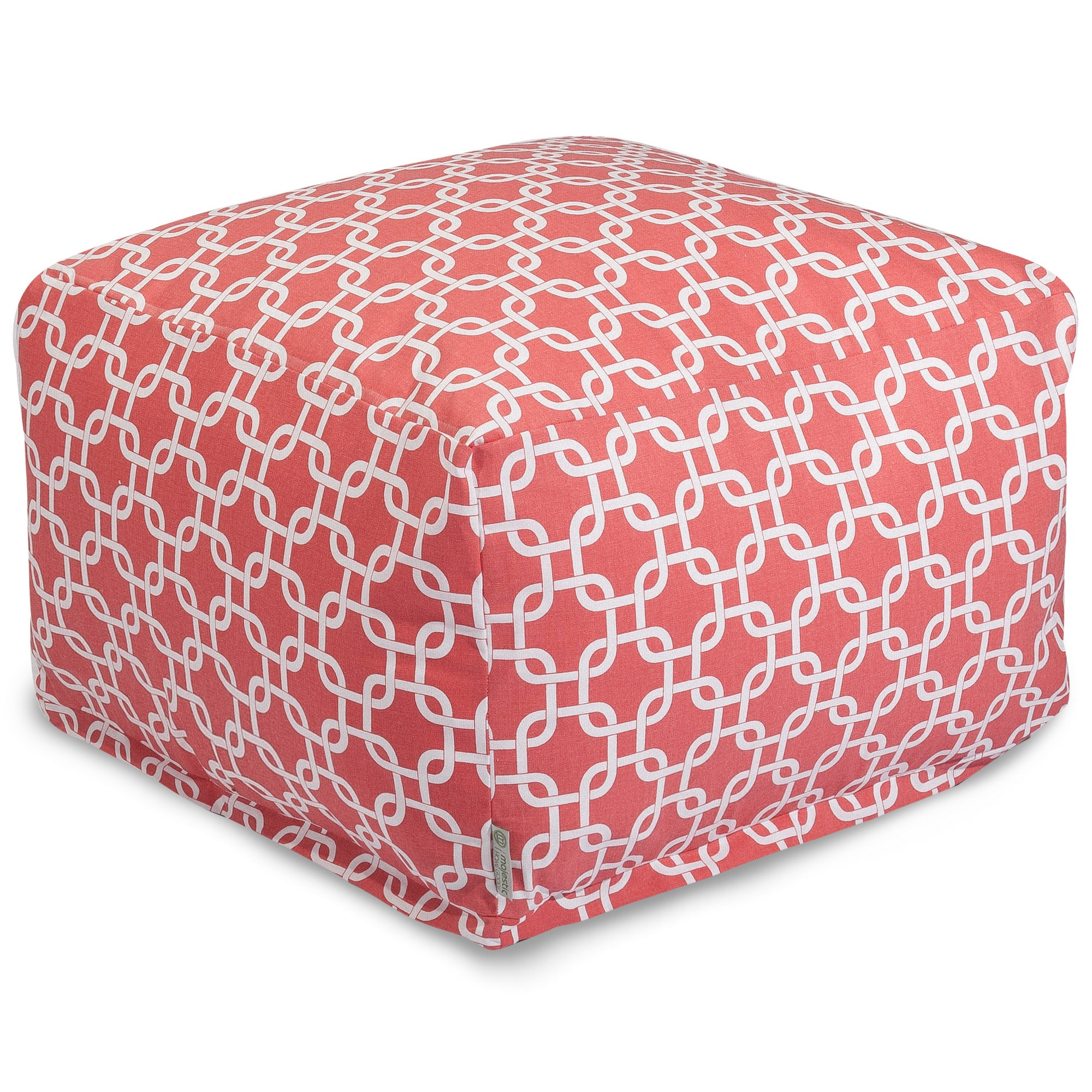 Majestic Home Goods Indoor Cotton Soft Pink Links Ottoman Pouf