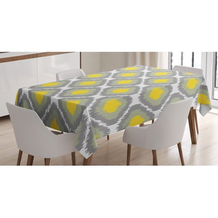 (Ikat Decor Tablecloth, Repeating Ikat Shapes Tied into Bundles Old Form Textile Historical Print, Rectangular Table Cover for Dining Room Kitchen, 52 X 70 Inches, Grey White Yellow, by Ambesonne)
