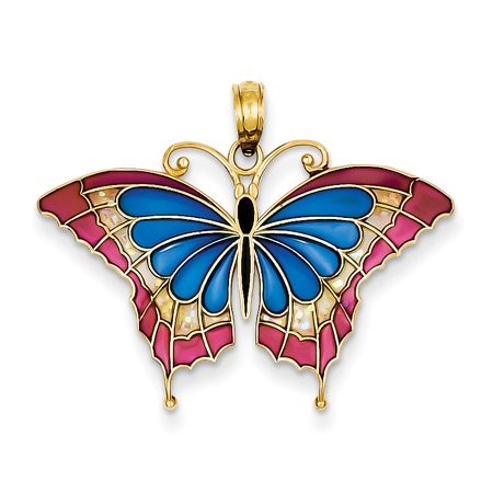 14K Blue Stained Glass Wings Butterfly Pendant with Acrylic
