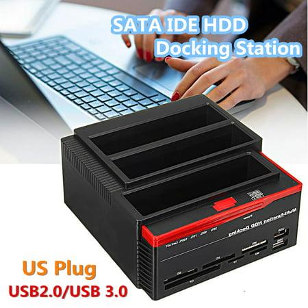 "2.5/3.5"" External Dual SATA IDE HDD Hard Drive Docking Station Tech&Gadgets Clone Card Reader USB 3.0 US Plug"