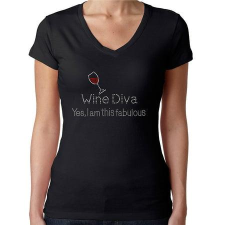 Womens T-Shirt Rhinestone Bling Black Tee Wine Diva I am This Fabulous V-Neck Small