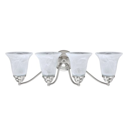 White Transitional Four Light (Aspen Creative 62136, Four-Light Metal Bathroom Vanity Wall Light Fixture, 23 1/2