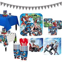 Avengers Tableware Party Supplies for 16 Guests, Include Banner and Decorations