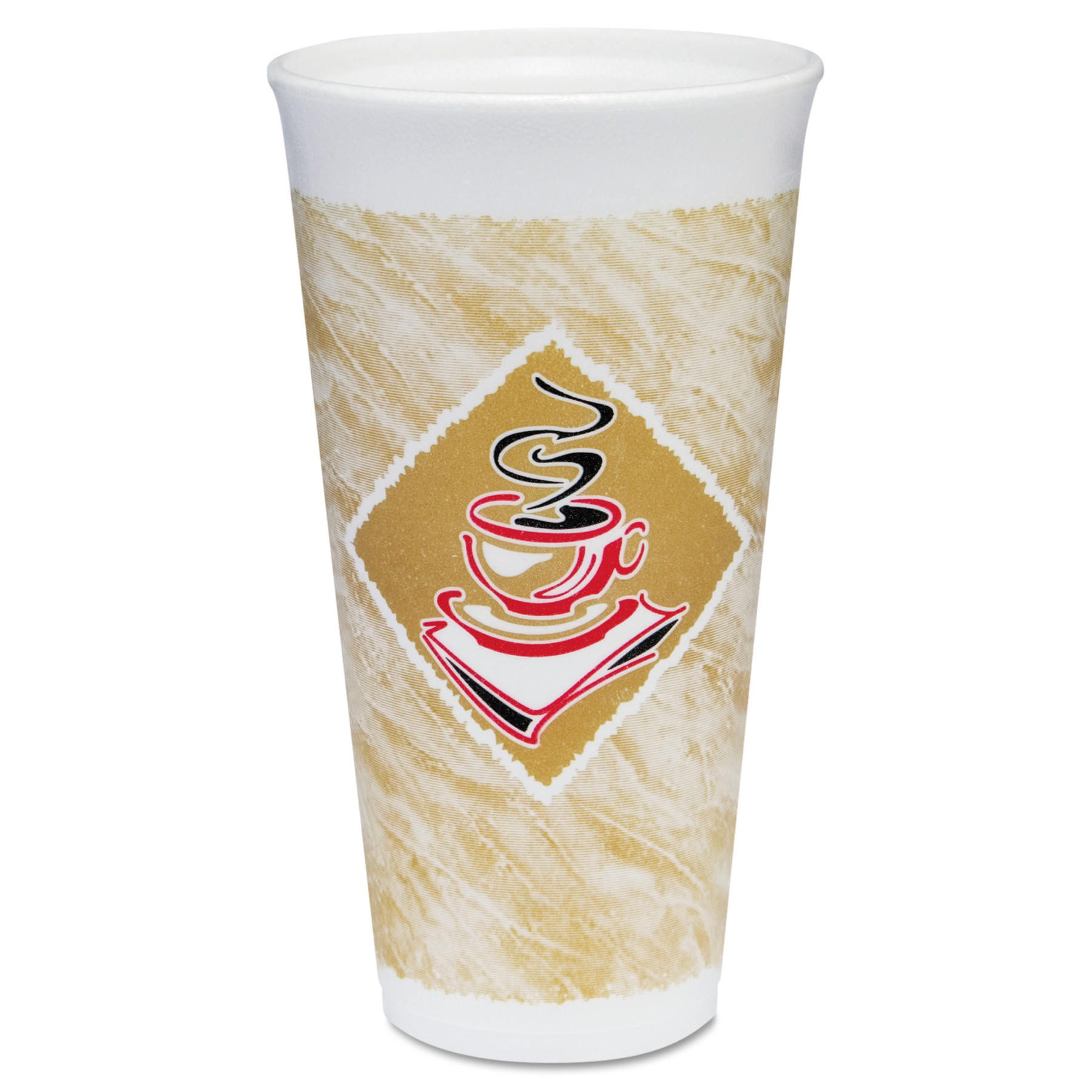 Dart Foam Hot/Cold Cups, 20 oz., Café G Design, White/Brown with Red Accents -DCC20X16G