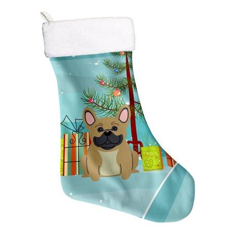 Bulldog Christmas Stocking - Merry Christmas Tree French Bulldog Cream Christmas Stocking BB4135CS