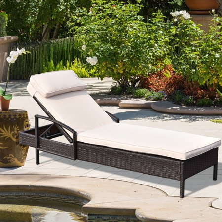 Costway Chaise Lounge Chair Brown Outdoor Wicker Rattan Couch Patio Furniture W/Pillow ()