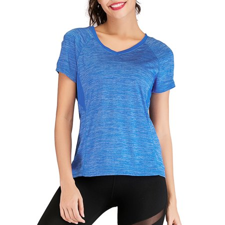 - Women Compression Mesh Yoga Tops Running Workout Athletic Shirt Quick Dry Fit Activewear T Shirts