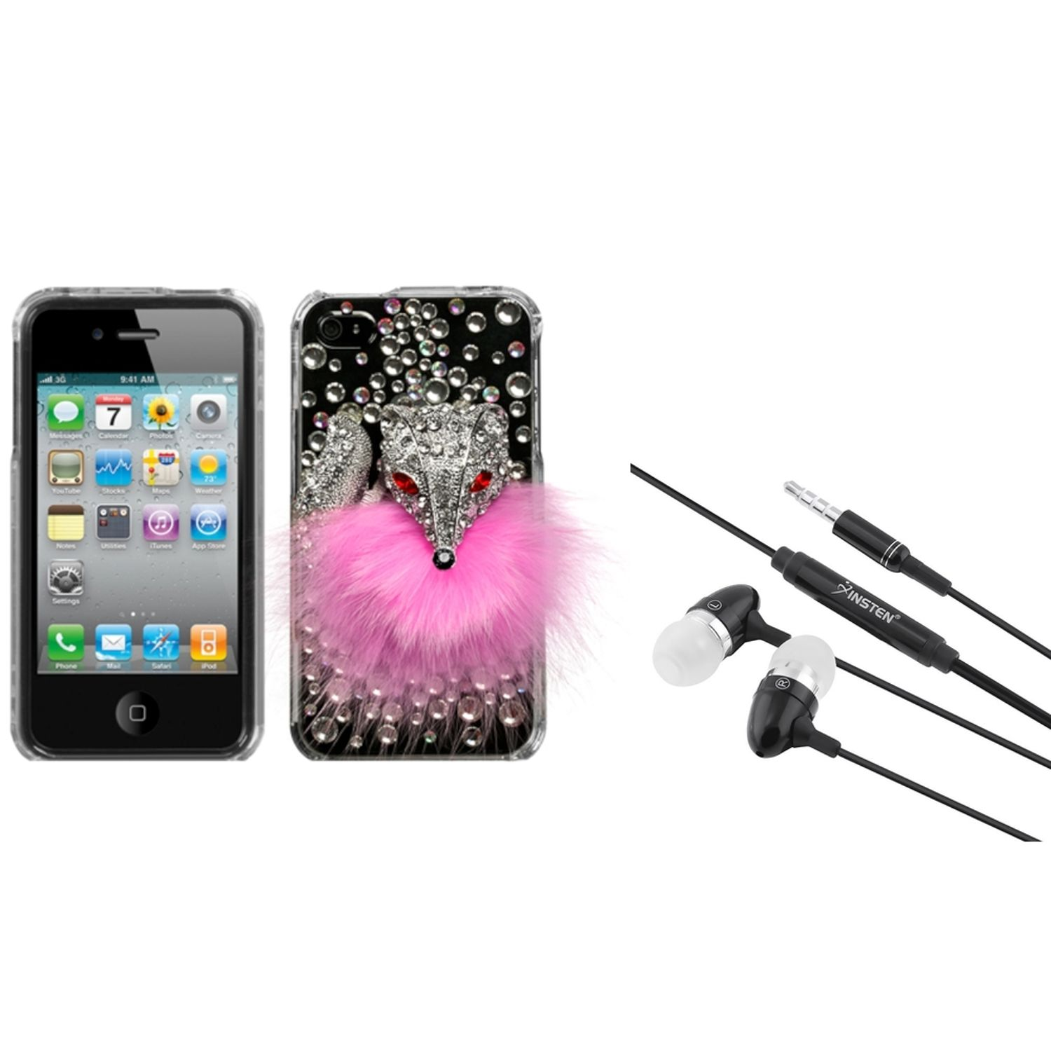 Insten Pink Fox Crystal 3D Diamante Case (w/Package) For iPhone 4 4S + 3.5mm Headset