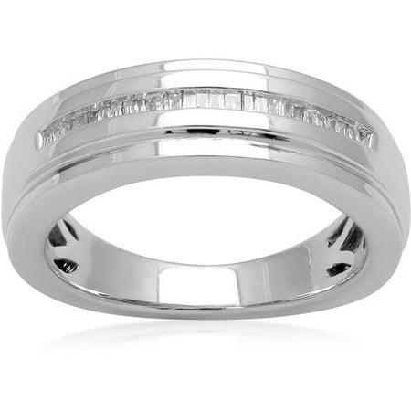 Men S 1 7 Carat T W Baguette Diamond Sterling Silver Wedding Band