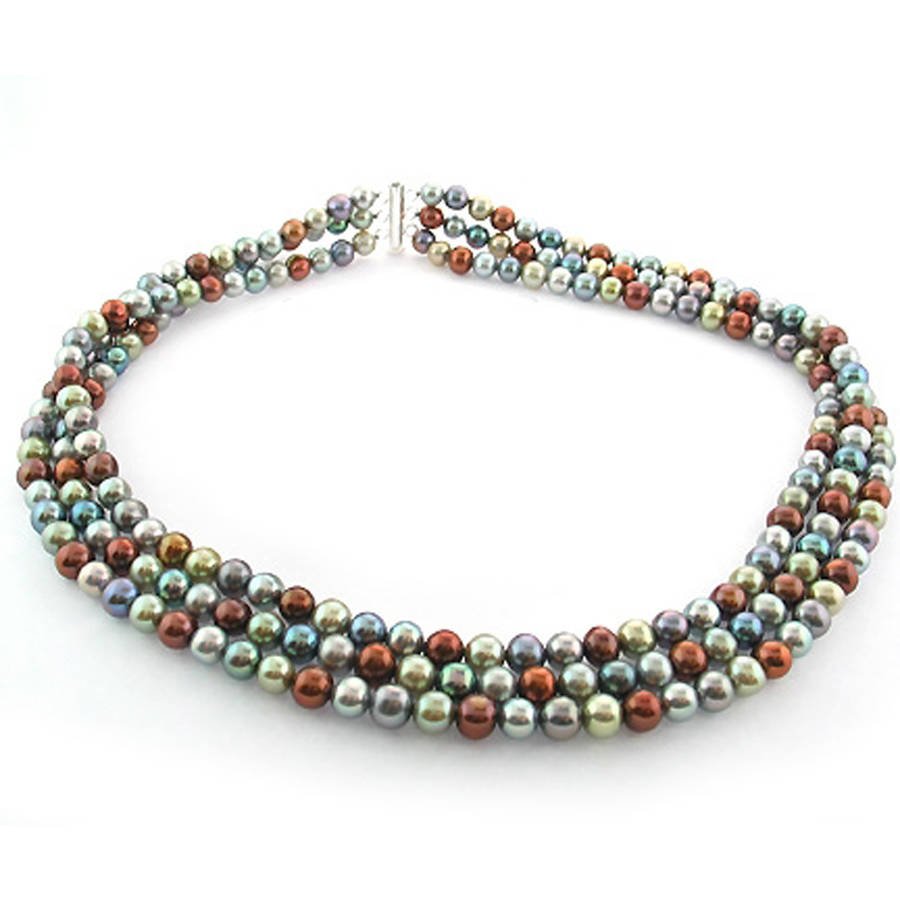 """Image of Chocolate, Green, Black, and Gray Freshwater Pearl Necklace for Women, Sterling Silver 3 Row 18"""" 6.5mm x 7mm"""