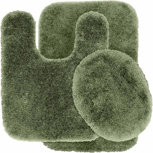 finest luxury ultra plush nylon 3-piece washable bathroom rug set