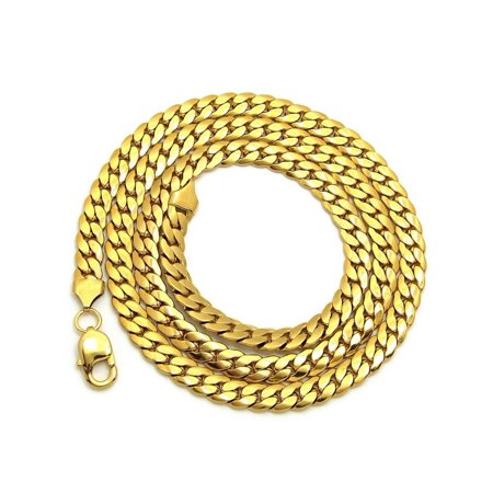 8.4mm Various Length Stainless Steel Based Gold Plated Miami Cuban Chain - Plated Base Metal Chain