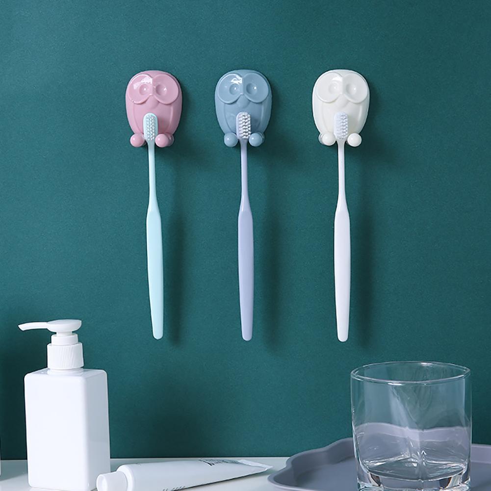 Moderna Kitchen Bathroom Owl Wall Sticky Adhesive Hanging Storage Toothbrush Holder