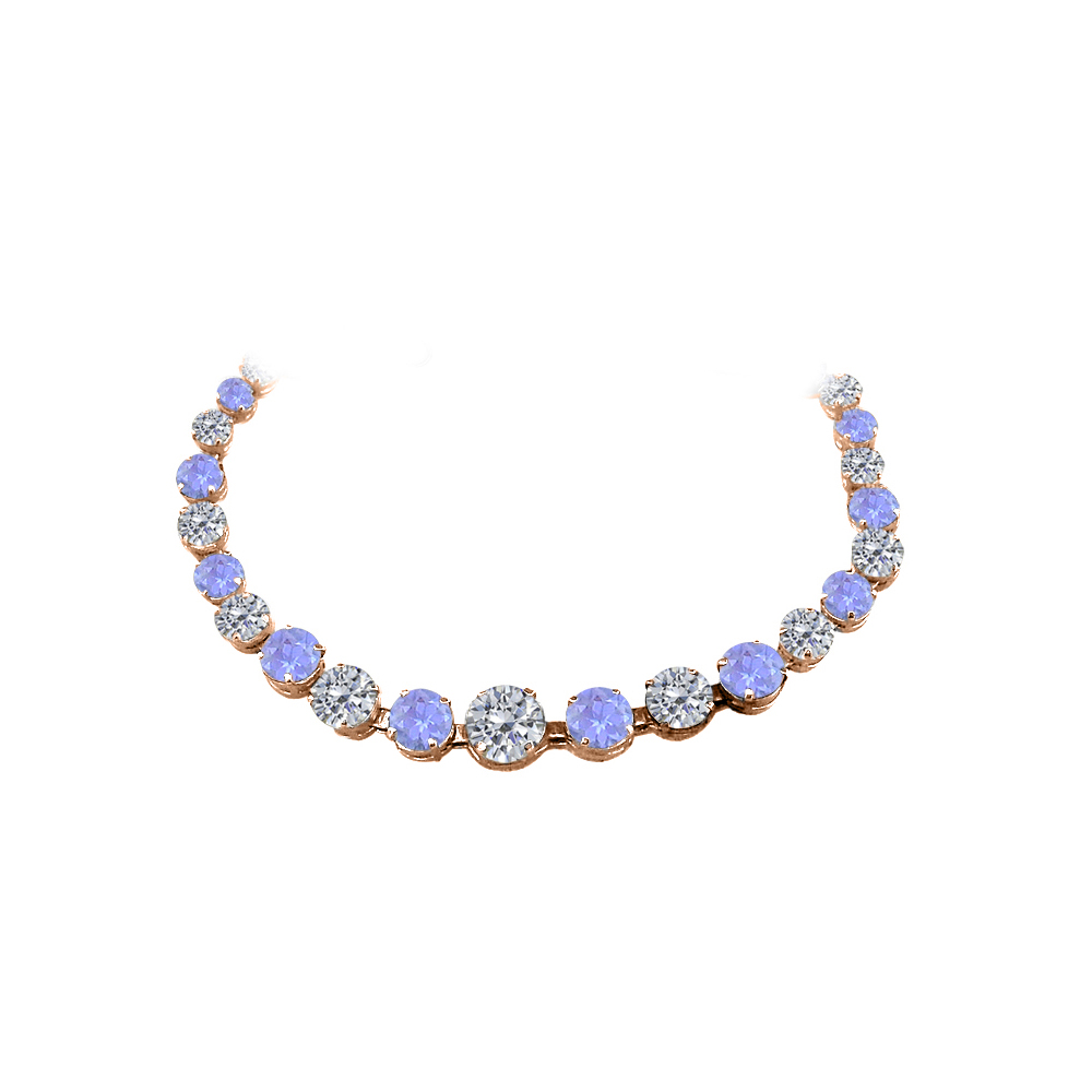 CZ Tanzanite Graduated Necklace 14K Rose Gold Vermeil by Love Bright