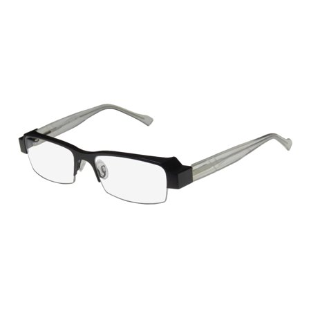 New Harry Lary's Icony Mens Designer Half-Rim Black / Transparent Fabulous Fashion Accessory Frame Demo Lenses 53-17-0 Spring Hinges (Lens Transparent Black Frame)