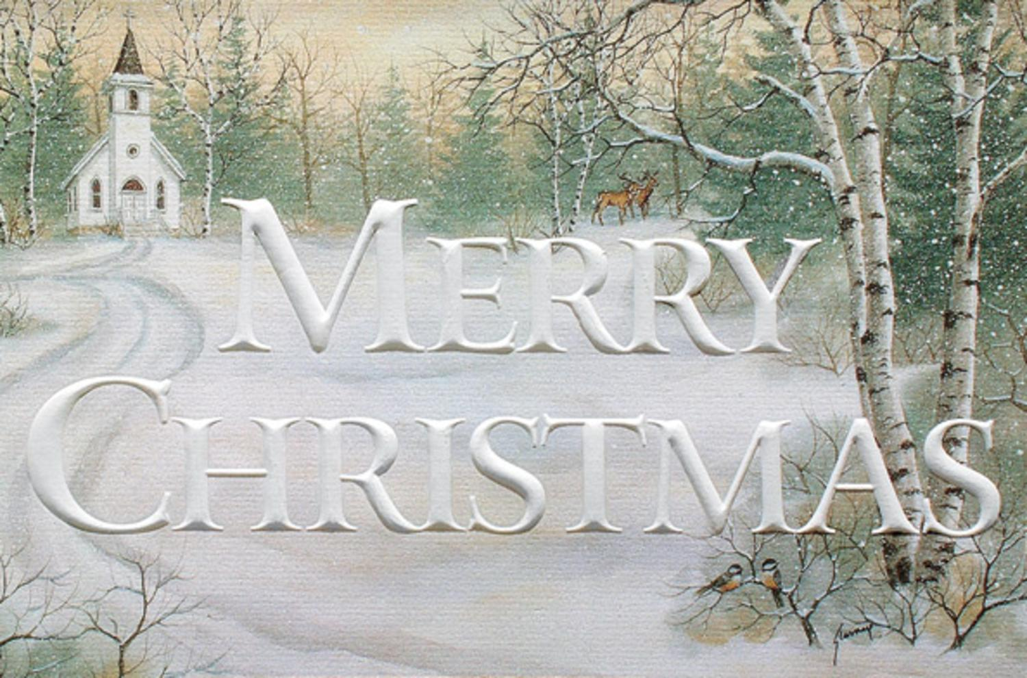 Pack of 16 Merry Christmas Country Church Fine Art Embossed Greeting Cards