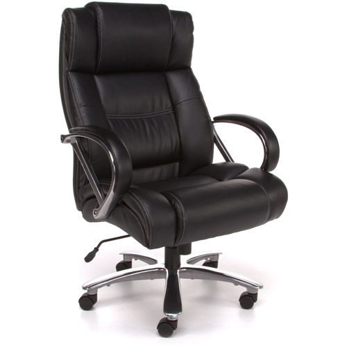 OFM Big and Tall High Back Leather Avenger Series Executive Office Chair, Black