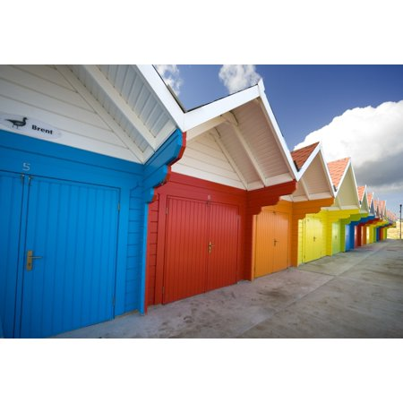 Posterazzi Colorful Beach Huts Scarborough England Europe Canvas Art - John Short  Design Pics (34 x (Beach Huts Scarborough)