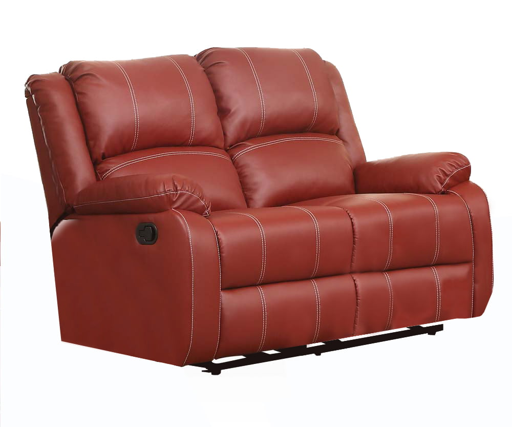 ACME Zuriel Reclining Loveseat in Red Faux Leather Upholstery by Acme Furniture