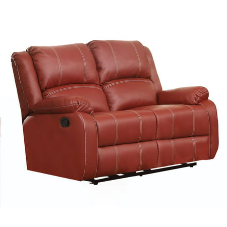 ACME Zuriel Reclining Loveseat in Red Faux Leather Upholstery ()