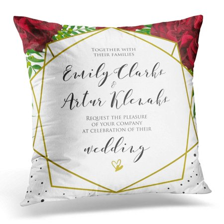 ARHOME Wedding Floral with Red Burgundy Rose Flowers Palm Leaves Green Berries Elegant Geometrical Golden Pillow Case Pillow Cover 20x20 inch