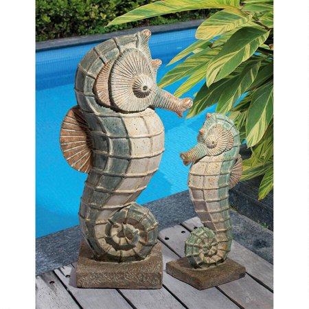 Design Toscano Sea Biscuit Seahorse Marine Fish Family Statue Collection: Complete Set Ceramic Fish Statue