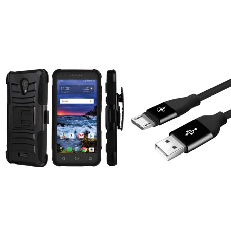 Alcatel Raven LTE | Verso | IdealXCITE | CAMEOX - Bundle: Dual Layer Shockproof Kickstand Belt Holster Case - (Black), Sync Charge Micro USB Cable [3.3 Feet] and Atom